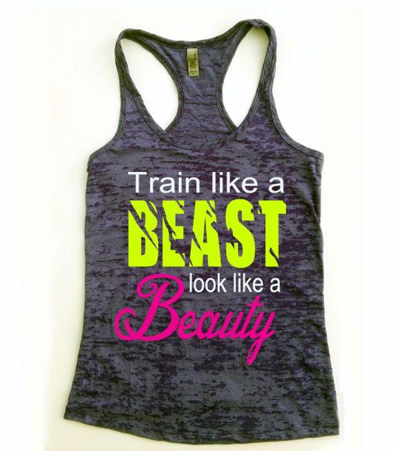 Workout Tank. Look Like A Beauty. Train Like A Beast. Train Like A Beast Tank Top . Look Like A Beauty Tank Top. Fitness tank top. on Etsy, $22.00