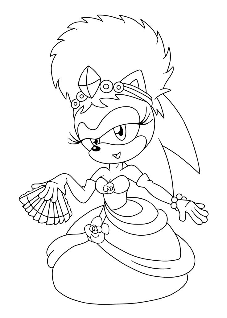 sonia princess from sonic coloring pages for kids printable free - Sonic The Hedgehog Coloring Book