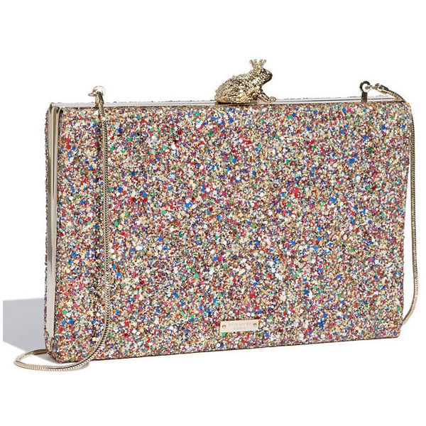 Women's kate spade new york 'bridal - emanuelle' clutch ($305) ❤ liked on Polyvore featuring bags, handbags, clutches, accessories, bolsas, kate spade, bridal purse, multi colored handbags, hard clutch and colorful purses
