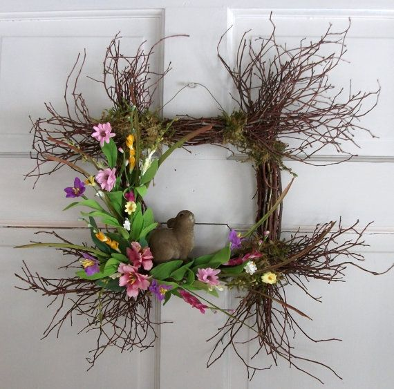 Spring Door wreath in the shape of a square by nyflowerchic, $35.00