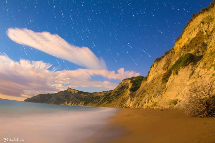 Stellar Traces above Cavo Bianco, Corfu  Night landscape above the clay hills of Cavo Bianco, Corfu  photo credits to Bil Metalinos
