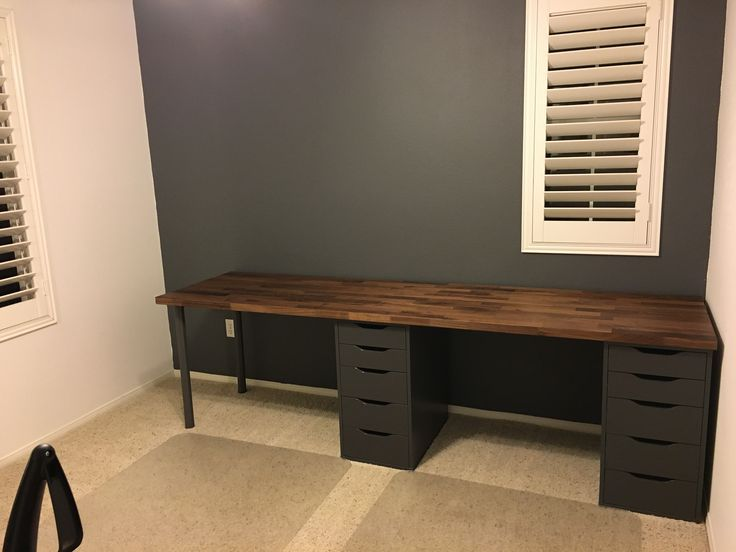 Love How This Home Office Is Turning Out Desk Ikea Karlby Countertop Ikea Alex Drawers Ikea