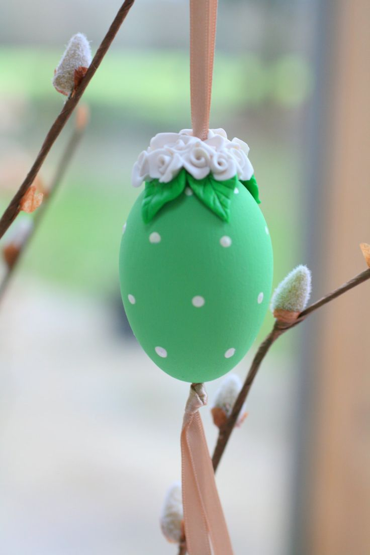 Easter Tree Ornament, Egg Decorations, Easter Decorations, Spring Decorations, Spring, Flower Ornament, Flower Bouquet, Green Decorations by EggOnTop on Etsy