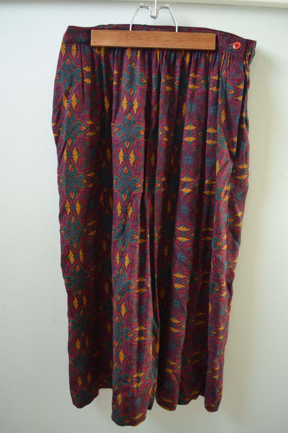 Vintage High Waisted Art Nouveau Patterned Maxi Skirt (large) by ragged willow on etsy