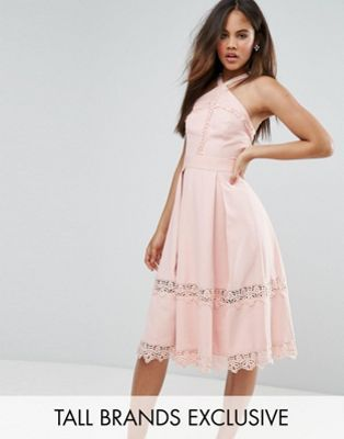 True Decadence Tall Premium Frill High Neck Prom Skater Dress With Lace Contrsat Inserts