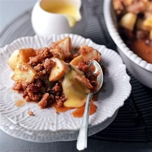 Apple cinnamon crumble recipe. Apple crumble is everyone's favourite dessert, but this one is super-charged with cinnamon for an even bigger warming effect.