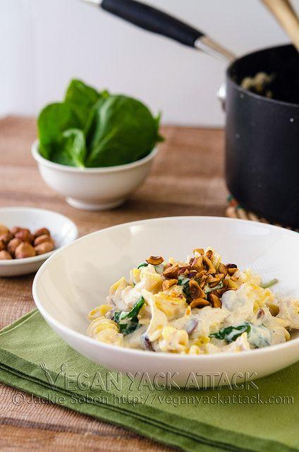 Quinoa Pasta with Creamy Garlic Sauce & Toasted Hazelnuts #vegan