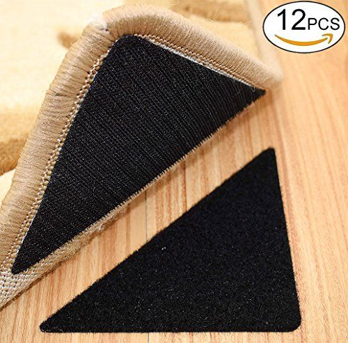 Rug Anchors , Double Sided Adhesive Hook and Loop Buckle Nylon Button Staircase Floor Carpet Non-slip Mat Anti-skid Stickers Triangle (12PCS, Black) - The rug anchor / nylon stickers have good tack (the back is strong glue, tear off the release paper can be directly attached to the surface of the object) , not only solved the slipping rug problem , but also to hold rug corners and edges down firmly. At the same time for the family with a small ...