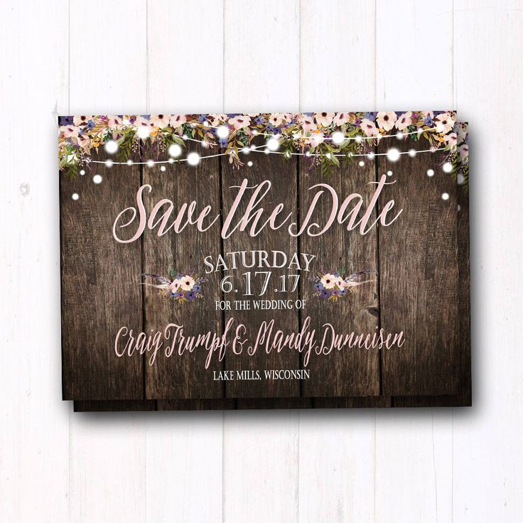 Boho Save The Date - Rustic Country Barn Wood Save the Date Cards - String Lights & Barn Wedding - Lavender Purple Flowers - Greenery by ASweetLifeDesigns on Etsy https://www.etsy.com/listing/514114621/boho-save-the-date-rustic-country-barn