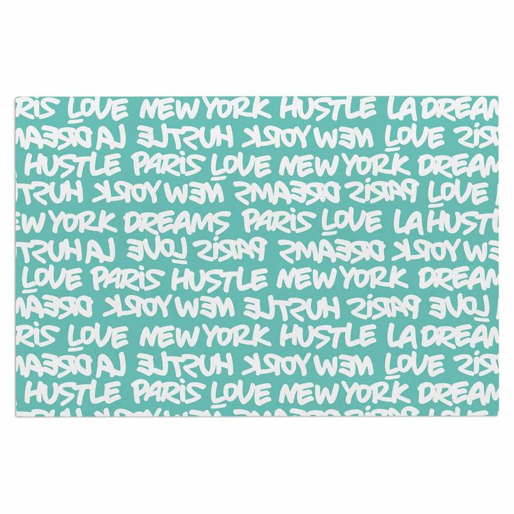 """Just L """"Lux Writing Wht Teal"""" White Typography Decorative Door Mat"""