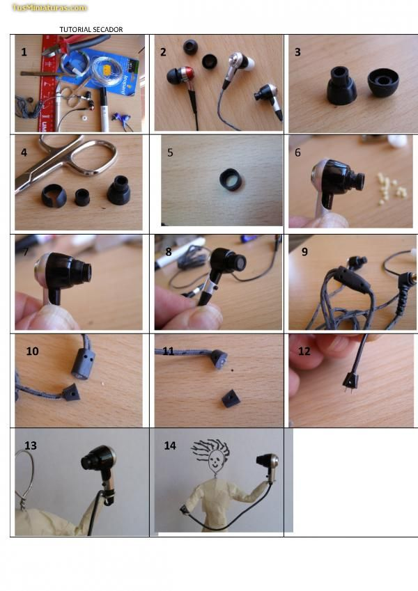 DIY miniature hair dryer from pieces of an ear plug | Source: Tus Miniaturas