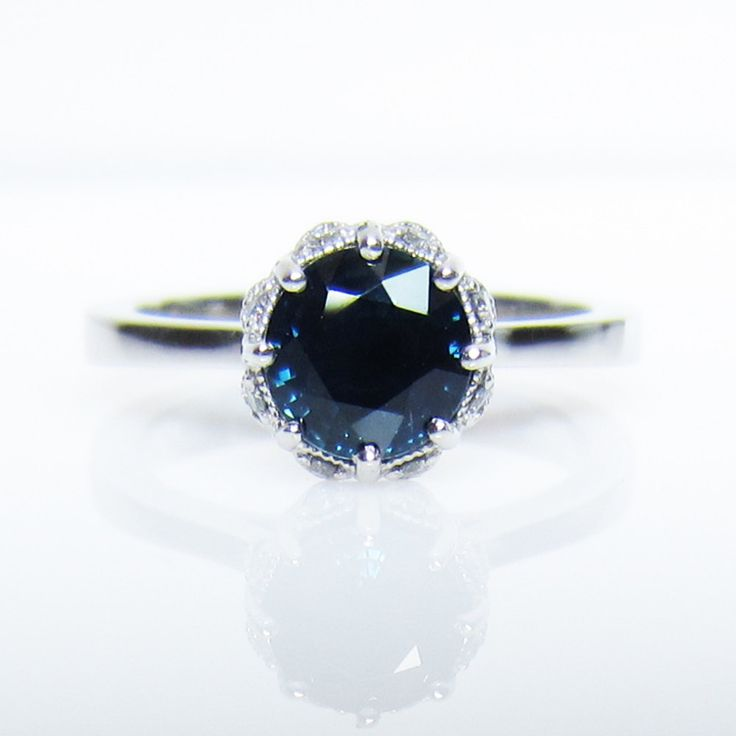 Sapphire diamond filigree alternative engagement ring 14k white gold - Custom Made. 2,750.00, via Etsy.