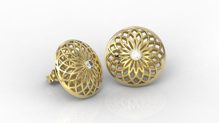 Ażurowe kolczyki z żółtego złota z cyrkoniami / Earrings made from yellow gold with zircons / #jewellery #design #gold #zircons #art