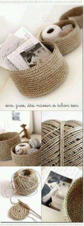 Brian is going to kill me when the whoooole house is covered with crochet projects, but I love this! Crochet baskets using hemp or twine. Great for added stiffness and stability.