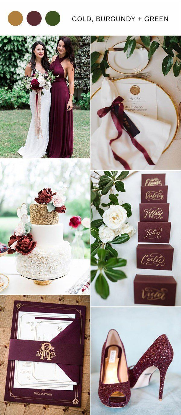 2017 Trending Gold Burgundy And Green Wedding Color Ideas Gold Wedding Colors Burgundy Wedding Colors Wedding Colors