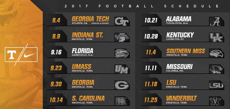 Tennessee Football Announces 2017 Schedule - University of Tennessee Official…