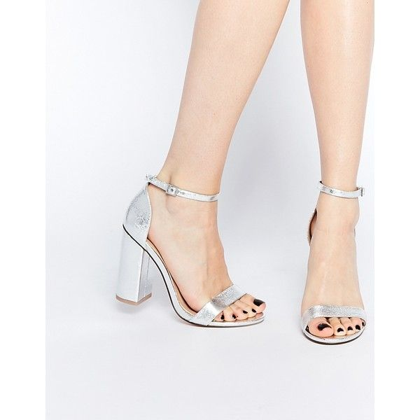 ASOS HERE GOES Heeled Sandals (€56) ❤ liked on Polyvore featuring shoes, sandals, silver, open toe shoes, metallic block heel sandals, block heel sandals, asos and asos shoes