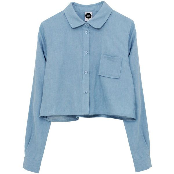 Long Sleeve Crop Shirt Denim (1,120 MXN) ❤ liked on Polyvore featuring tops, blouses, shirts, long sleeves, denim long sleeve shirt, long sleeve blouse, blue crop top, blue blouse and blue long sleeve blouse