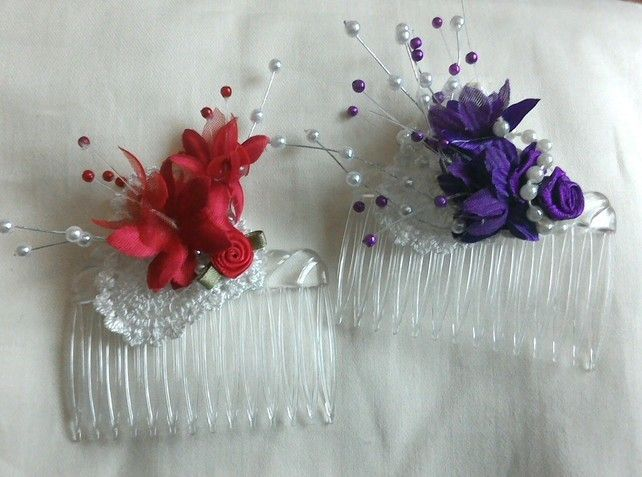Two Hair Combs Decorated, Party Hair Piece, ladies Fascinator, Hair Accessory £5.95
