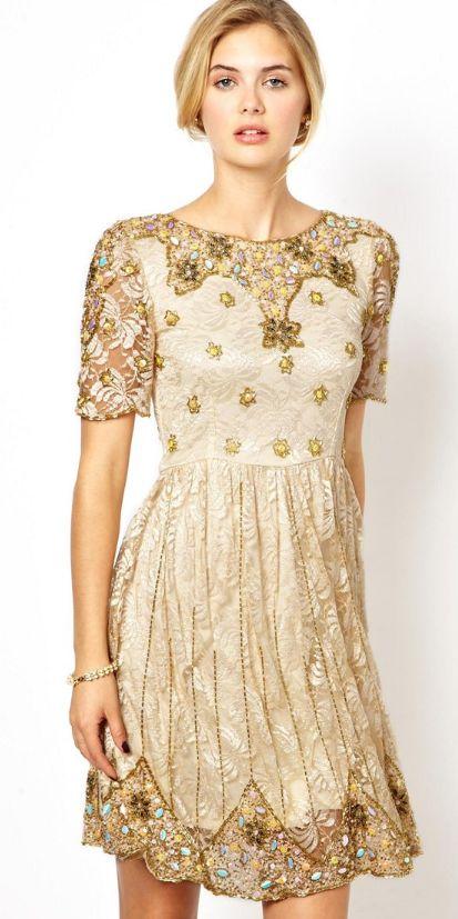 Gold cocktail dress ✿⊱╮