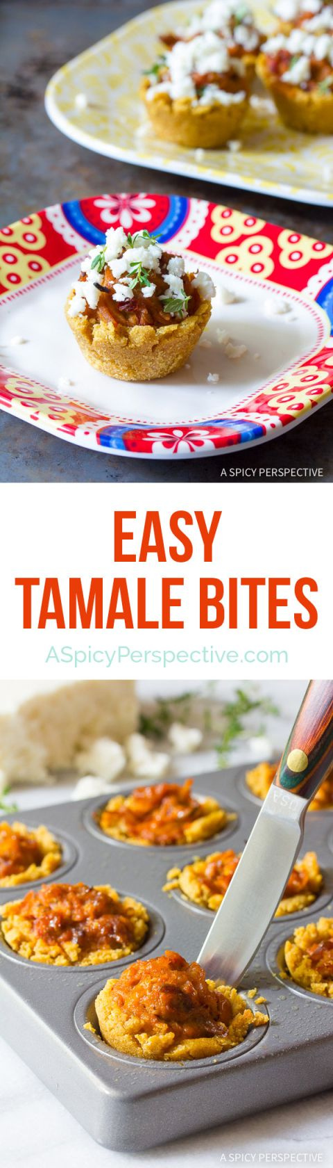 Easy to Make Tamale Bites Recipe on ASpicyPerspective.com                                                                                                                                                                                 More