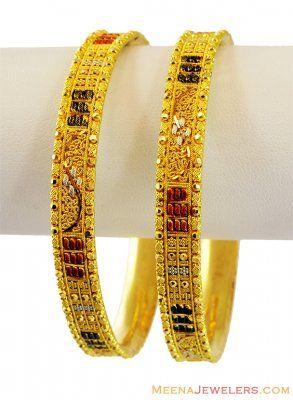22K Fancy Gold Three Tone Bangles  ( Gold Bangles )