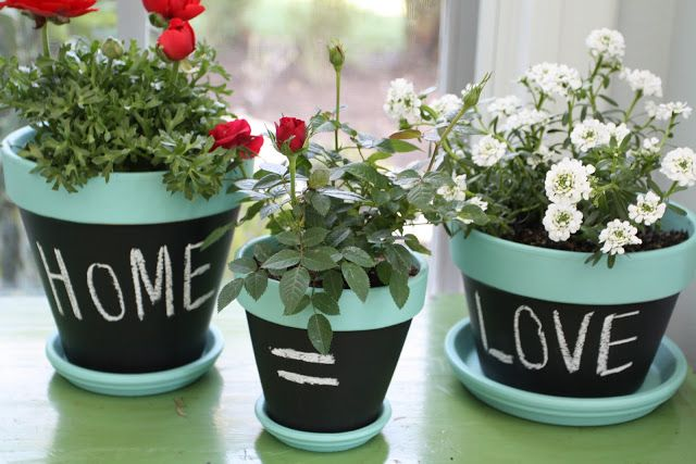Cute for a Birthday gift! Chalkboard flower pot