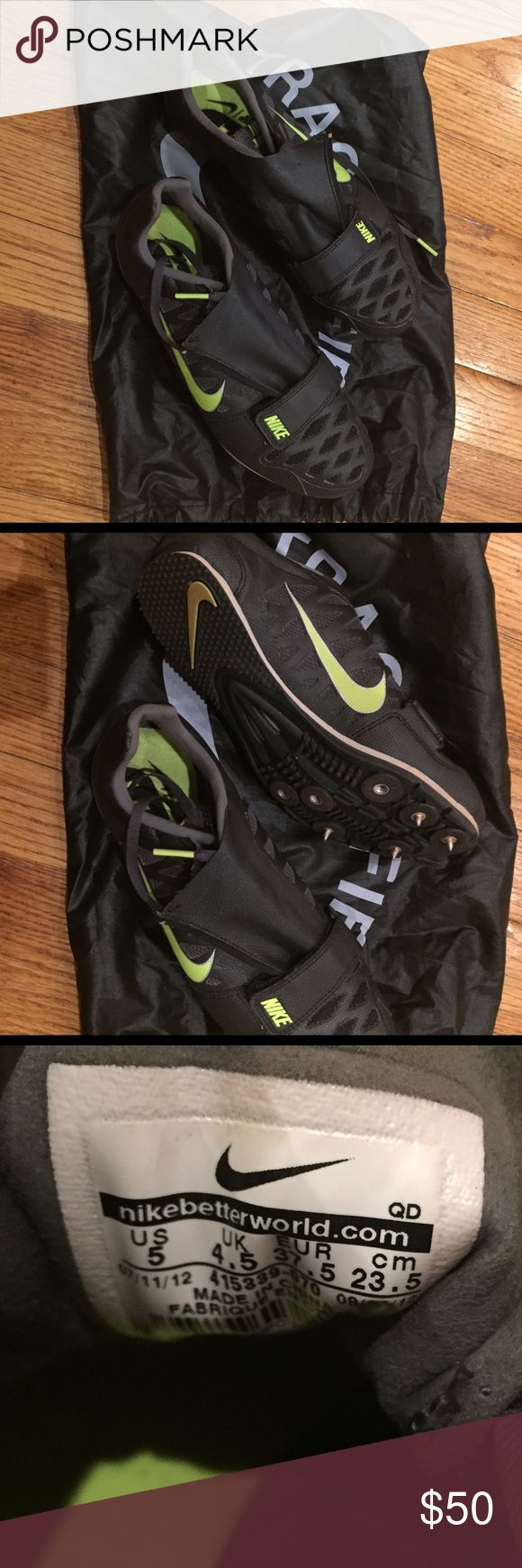 Nike Spikes Zoom LJ Black/green Nike spikes. Used for long jump. Will need new spikes. Bag included Nike Shoes Athletic Shoes