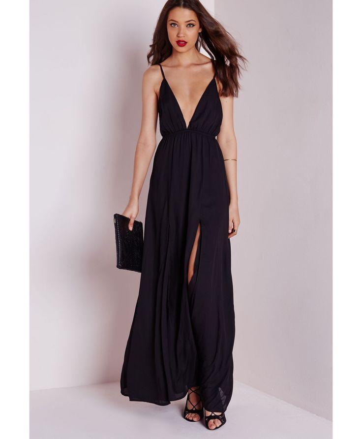 Robe longue décolletée en mousseline noire - Robes - Robes longues - Missguided