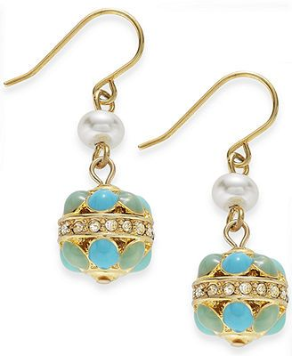 Lauren Ralph Lauren Gold-Tone Enamel Epoxy and Pave Crystal Round Drop Earrings