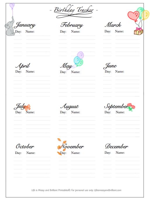 FREE Bullet Journal/Planner Printable: Birthday Tracker