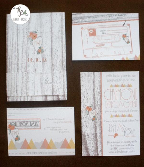 Faire-part montagne chalet Happily Factory Wedding invitation
