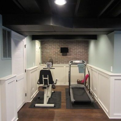 Home Gym Small Design, Put a bigger flat screen on that brick wall!