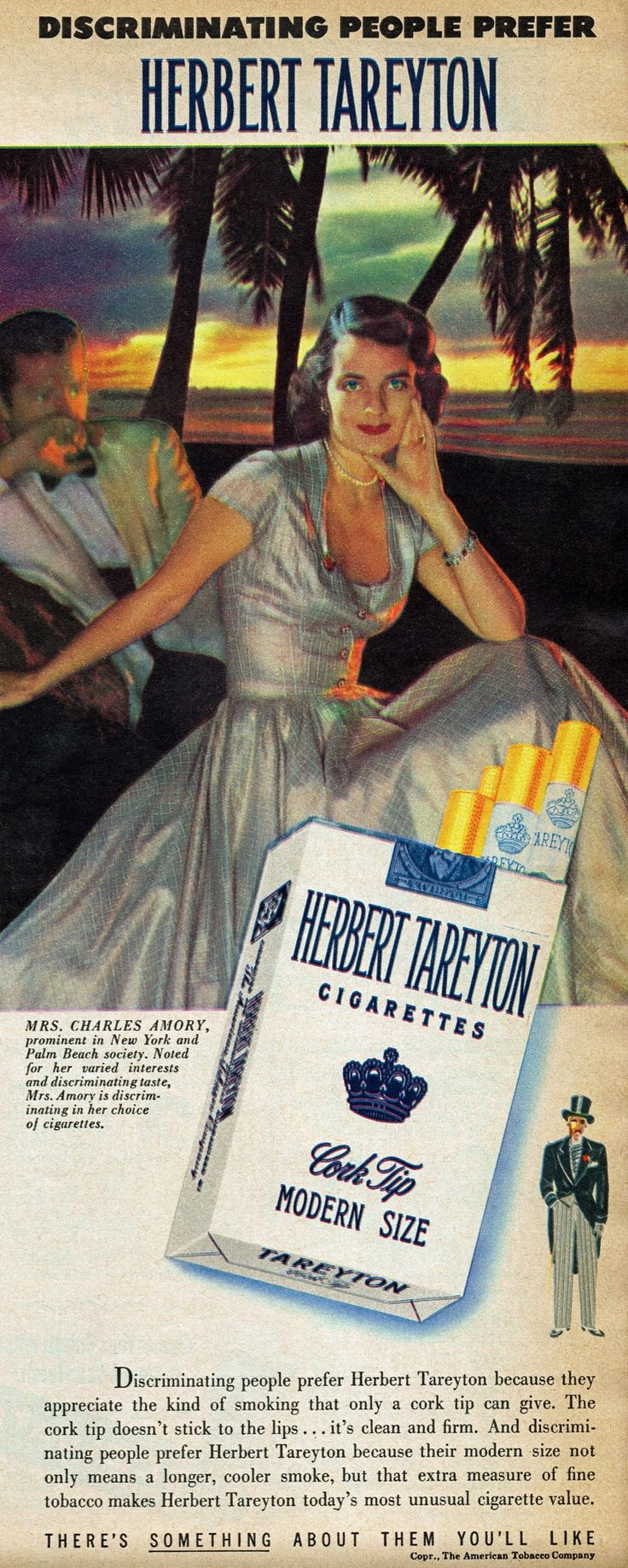"Herbert Tareyton cigarettes, 1949 ""Mrs. Charles Amory, prominent in New York and Palm Beach society.Chesbrough Lewis Hall Amory Patcevitch the famous snobbish society beauty"