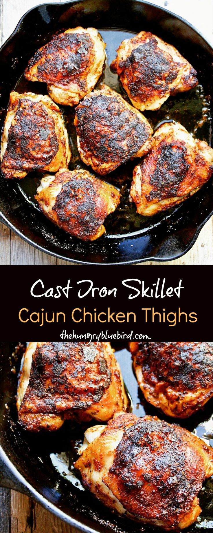 Cast Iron Skillet Cajun Chicken Thighs ~ one skillet, one spice.