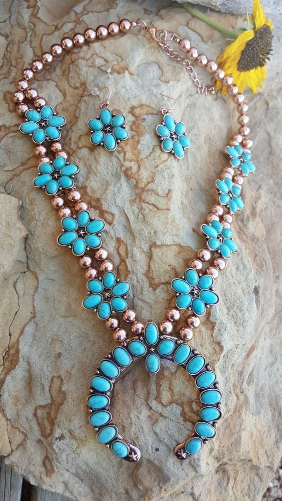 COWGIRL Southwest Copper tone Turquoise SQUASH BLOSSOM Western NECKLACE SET #HANEE