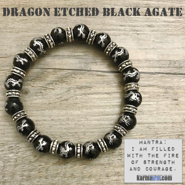 Beaded Yoga Bracelets. Silver Dragons Black Aagte.  I Law of Attraction | #LOA | Charm Mala I Meditation & Mantra I Spiritual.