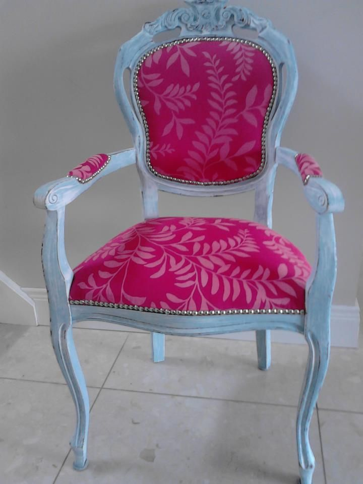 The Zazzy Chair. Vintage Carver Chair painted in old french blue and rubbed in linen white , distressed and sealed in wax. French Designer fabric from Cassamance.