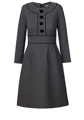 Crepe Coating Panel Dress Grey Melange