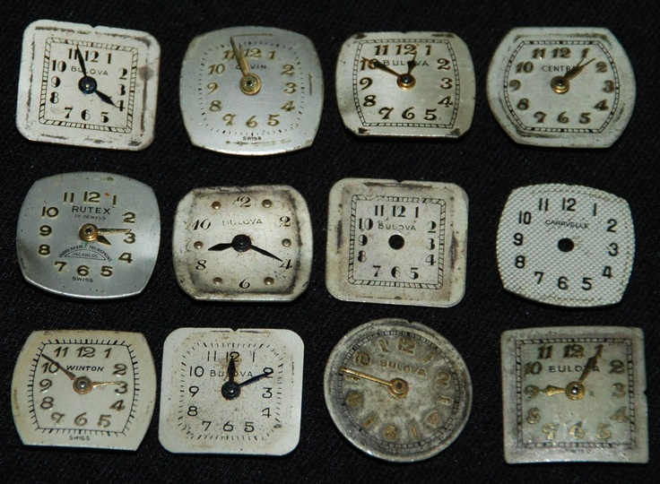 Vintage Antique Watch Dials Steampunk  Faces Parts Altered Art Industrial F11. $10.99, via Etsy.