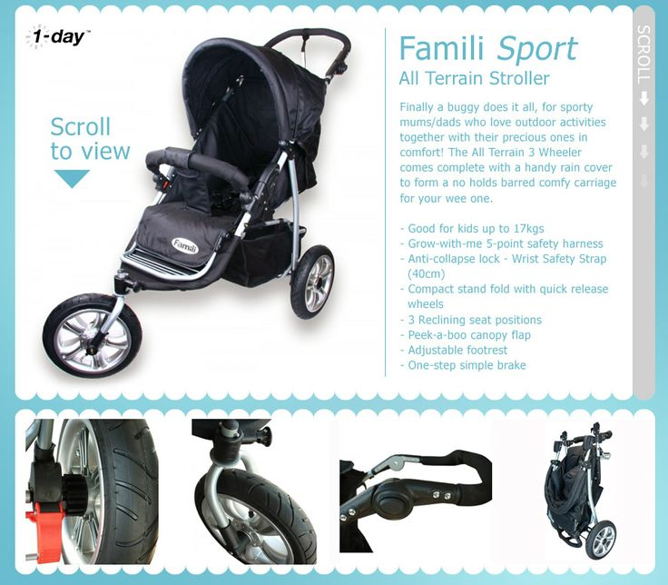 NZ $140 Famili Sport - All Terrain 3-wheel stroller / pram with rain cover.. suitable for up to 17kg