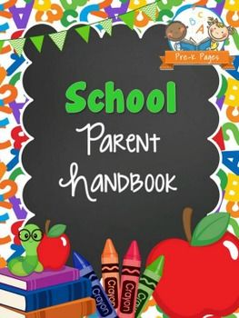 A ready made School Theme Parent Handbook template for Preschool, Pre-K, and Kindergarten. Just add your own text to customize this cute template and print!