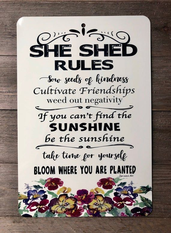She Shed Rules Sign Garden Sign Gardening Quote Garden Etsy Garden Shed Interiors Garden Signs Shed Interior