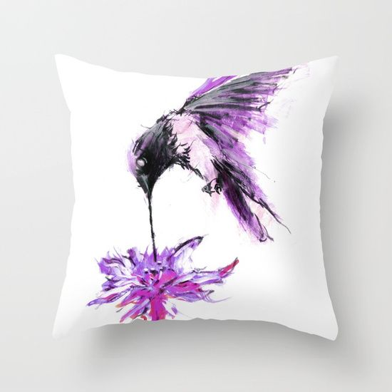 painting  watercolor  ink  illustration   realism  bird  flower  hummingbird   drip  paint, throw pillow