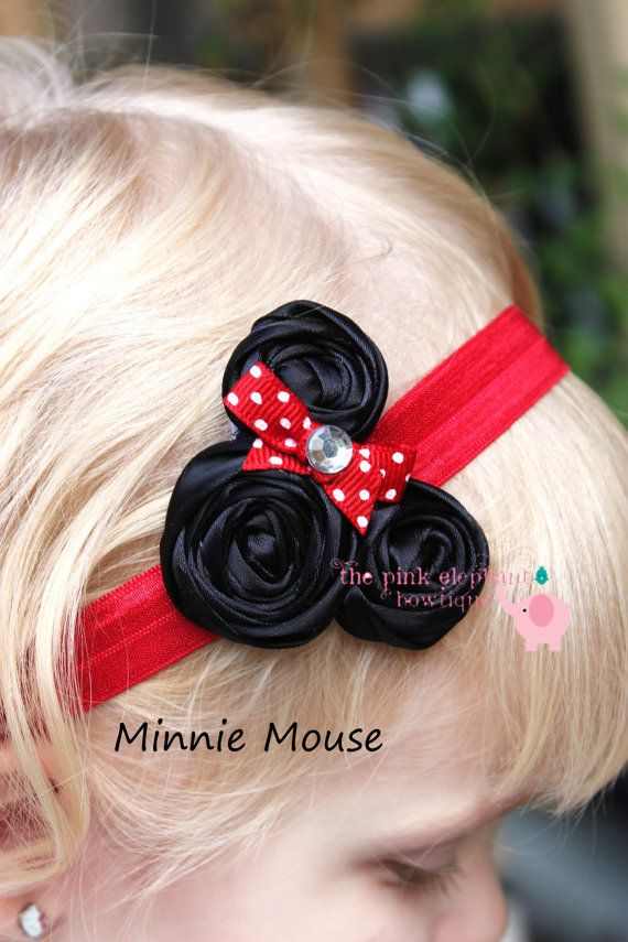 Minnie Inspired Headband-Baby Girl Headband-Newborn Headband-Infant Headband-Baby Headband-Rosette Headband-Photo Prop-Toddler Headband