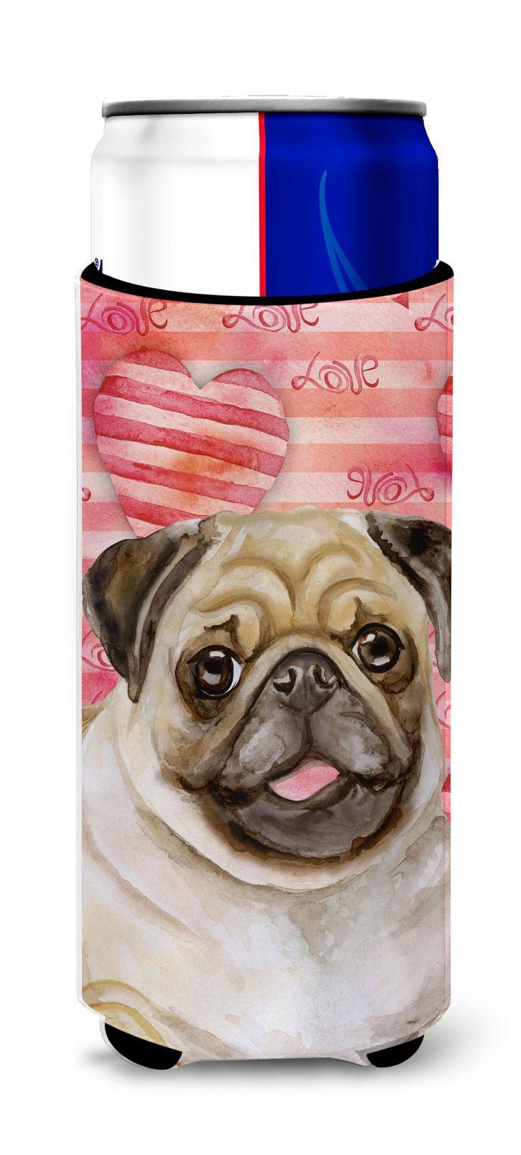 Fawn Pug Love Michelob Ultra Hugger for slim cans BB9805MUK