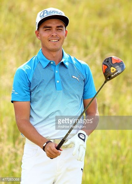 Rickie Fowler of the United States reacts after a shot during a ...