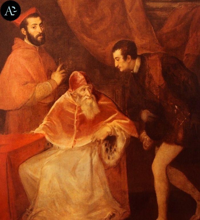 Tiziano Vecellio | Paolo III Farnese con i nipoti Alessandro e Ottavio Farnese