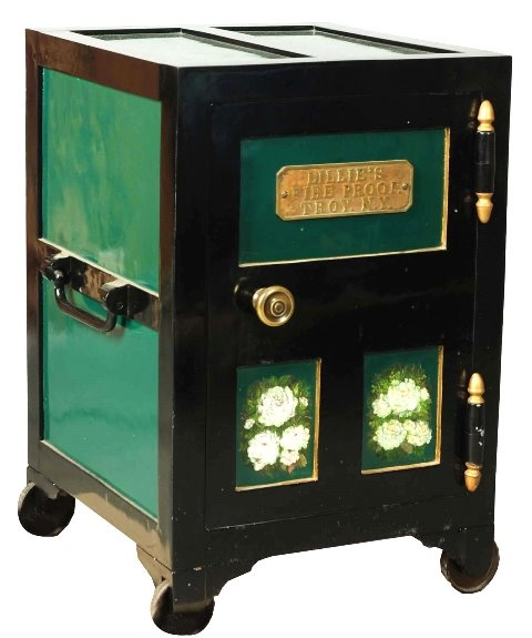 March 30th Auction. From the Guy Zani Jr. Safe Collection: Lillie's Fireproof Safe. Circa 1864. Trick hidden key lock door. Weighs approximately 650 pounds. #FireproofSafe #GuyZani #MorphyAuctions