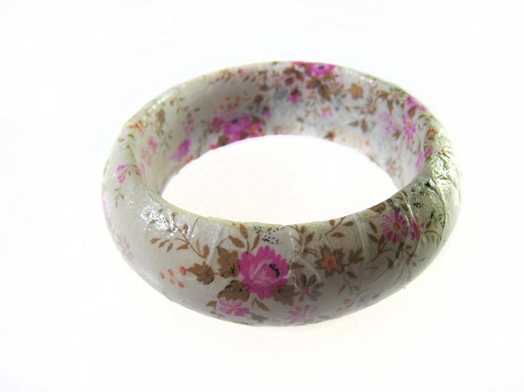 White & pink blossom print decoupage bangle